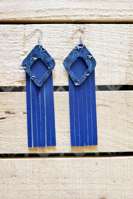 Blue Leather Fringe Earrings, Distressed Leather Diamond, Boho Rustic Earrings, Star Leather Metallic, Womans Gift, Statement Earrings, Chic