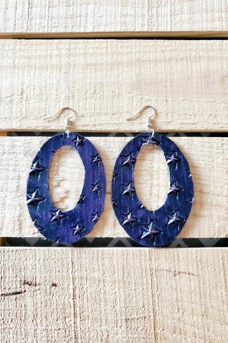 Distressed Leather Earrings, 3D Purple Oval Earrings, Star Leather Jewelry, Rustic Distressed Leather Earrings, Unique Earrings, Dangles