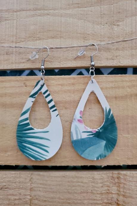 Tropical Floral Leather Earrings, Teardrop Earrings, Dangle Earrings, Trendy Jewelry, Statement Earrings, Floral Earrings, Boho Chic Earring
