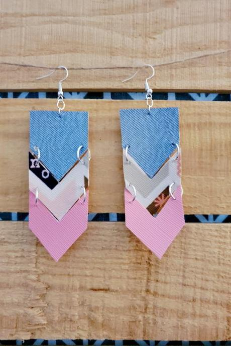 Chevron Leather Dangle Earrings, Denim Blue Pink Earrings, Boho Rustic Jewelry, Statement Leather Earrings, Blue and Pink Earrings, Trendy