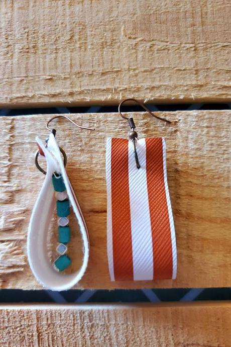 Burnt Orange and White Striped Rope Earrings, Game Day Jewelry, Rope Leather Dangles, Boho Leather Earrings, Striped Leather Earrings,