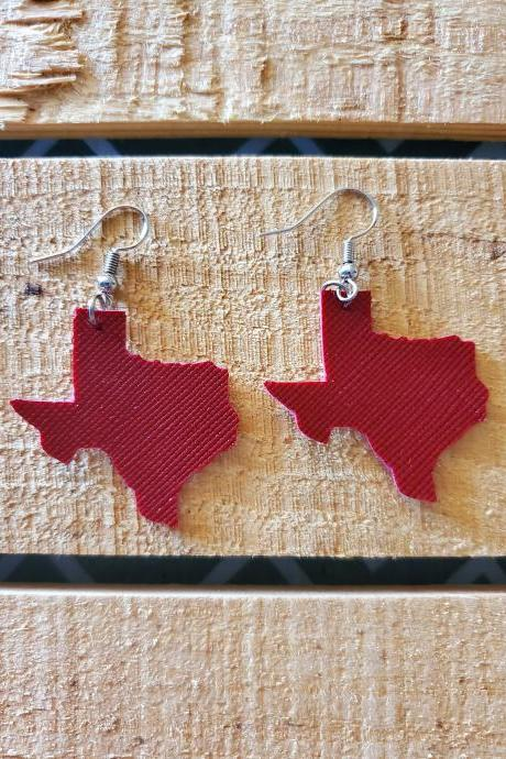 State of Texas Leather Earrings, Lone Star State Jewelry, Maroon Leather Earrings, Maroon Texas Jewelry, Dainty Earrings, Small Earrings