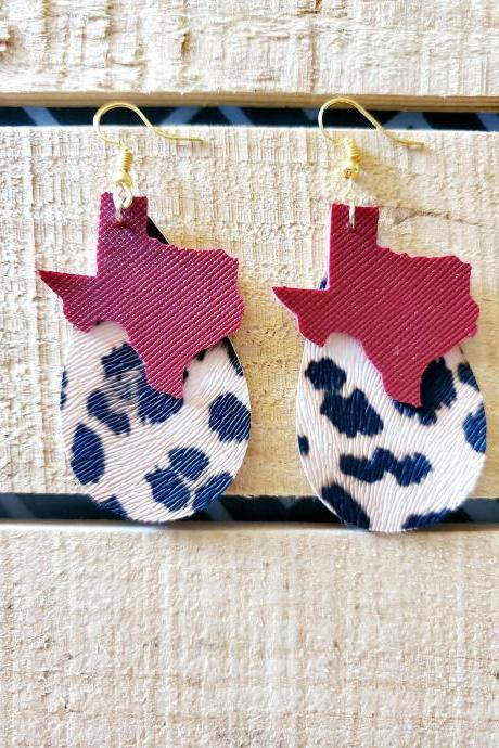 Leopard Print Layered Leather Earrings, State of Texas Leather Earrings, Texas Jewelry, Animal Print Jewelry, Stacked Earrings, Trendy