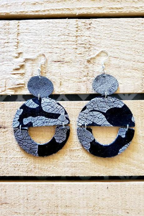 Black and Silver Distressed Leather Earrings, Velvet and Leather Earrings, Rustic Leather Earrings, Everyday Earrings, Silver Dangles, Boho