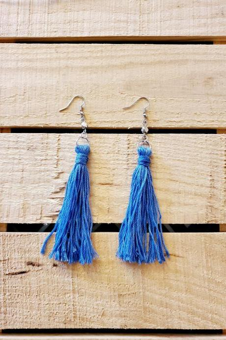 Blue Tassel Earrings, Long Earrings, Minimalist Earrings, Fringe Earrings, Statement Earrings, Trendy Earrings, Bohemian Jewelry, Boho Chic