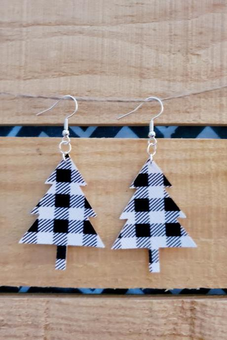 Black White Buffalo Plaid Christmas Tree Dangles, Christmas Tree Shape Leather Earrings, Dainty Earrings, Holiday Earrings, Rustic Earrings