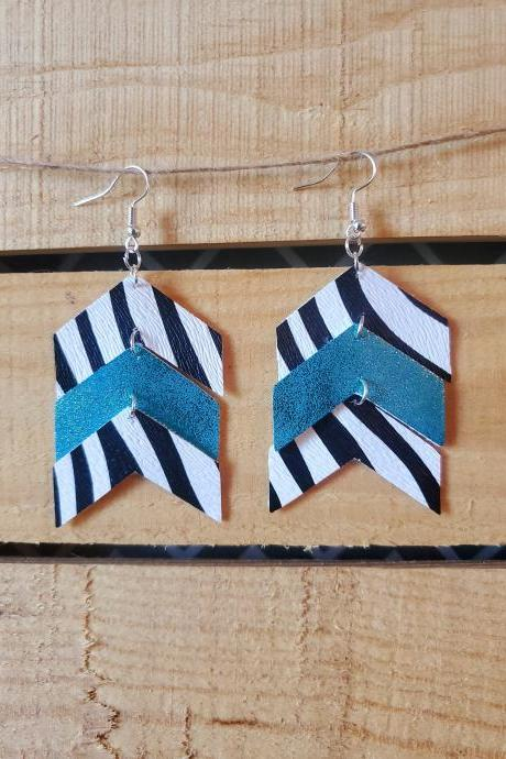 Teal Zebra Print Chevron Earrings, Black White Chevron Earrings, Teal Black and White Earrings, Dangle Earrings, Trendy Earrings, Boho Chic