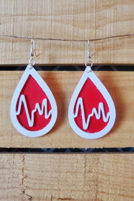 Nurse Leather Earrings, EKG Earrings, Medical Earrings, Doctors Earrings, Red White Leather Earrings, Front Line Workers Gifts, Nurse Gifts
