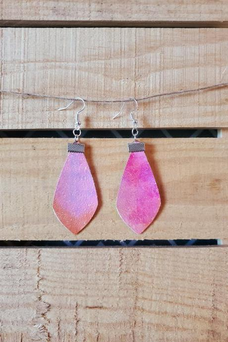 Iridescent Dangle Leather Earrings, Pink Leather Jewelry, Pastel Earrings, Drop Jewelry, Leather Dangle Earrings, Womans Gift, Gift for Her