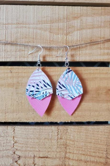 Tropical Flower Leather Split Earrings, Pink Texture Earrings, Palm Leaves Earrings, Hinged Jewelry, Split Earrings, Vacation Earrings