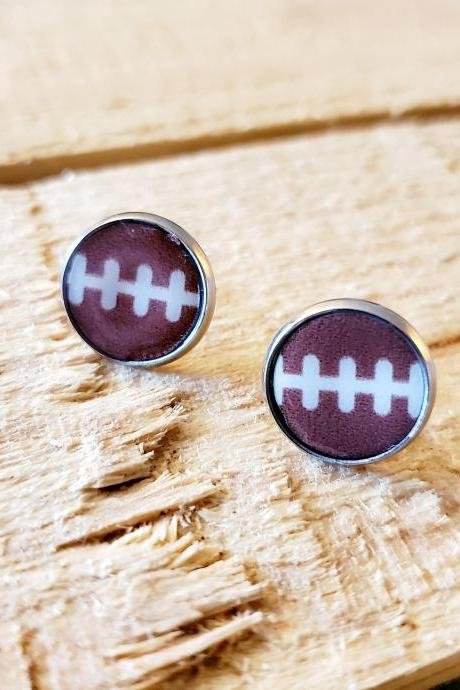 Football Stud Earrings, Football Post Earrings, Girlfriend Gift, Football Mom, Football Fan, Sport Earrings Gift, Mom Jewelry, Fan Wear,
