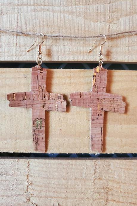 Rugged Cross Cork Leather Earrings, Cross Dangle Earrings, Cross Earrings, Cross Cork Leather Jewelry, Rugged Cross Christian Jewelry