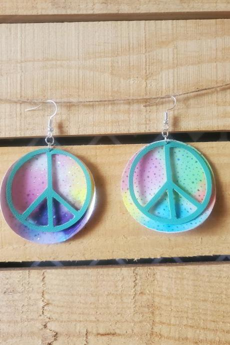 Peace Sign Leather Earrings, Rainbow Watercolor Circle Earrings, Dangle Jewelry, Boho Chic Earrings, Shabby Chic Jewelry, Hippie Earrings