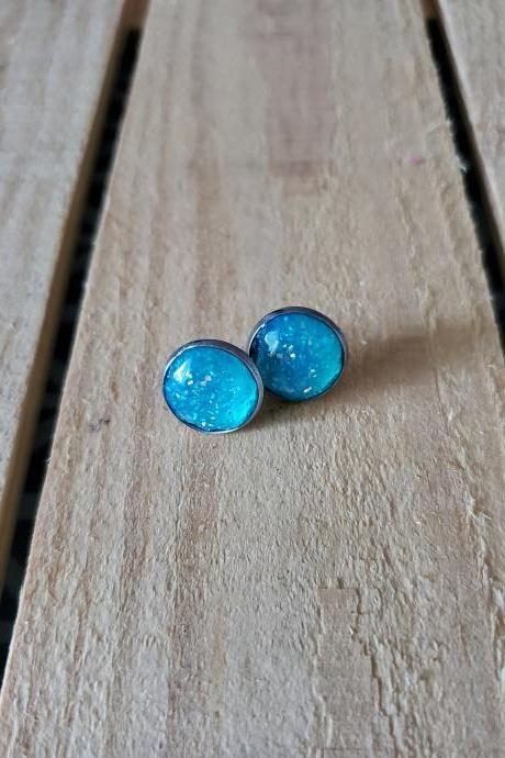 Teal Druzy Stud Earrings, Teal Post Earrings, Sparkly Earrings, Glitter Earrings, Statement Earrings, Minimalist Jewelry, Gift for Her, Boho