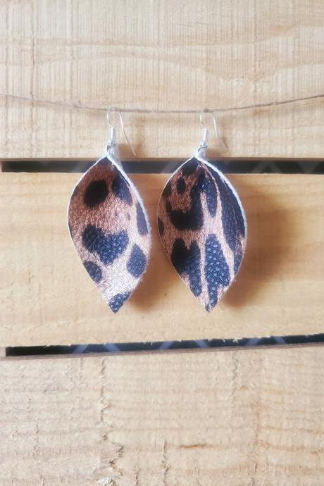 Leopard Print Pinched Leaf Earrings, Leopard Print Leather Earrings, Animal Print Leaf Jewelry, Leopard Leather Earrings, Leaf Earrings