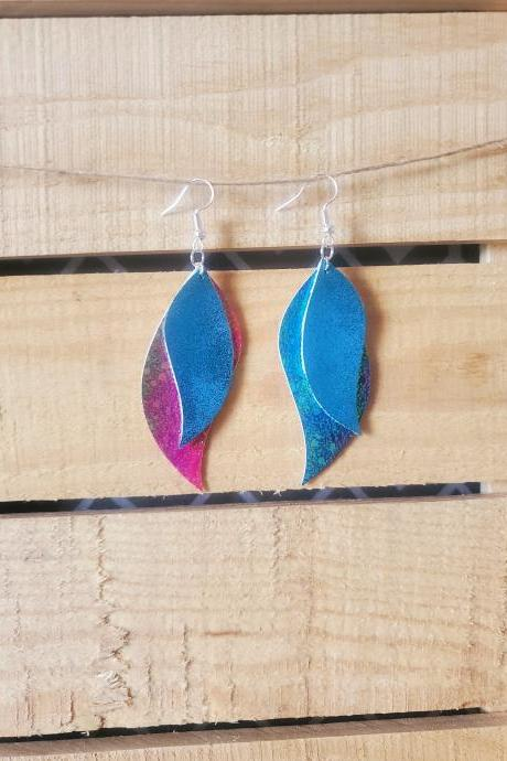Handmade Teal Leather Earrings, Leaf Turquoise Jewelry, Layered Bright Jewelry, Statement Earrings, Dangle Leather Earring, Metallic Jewelry