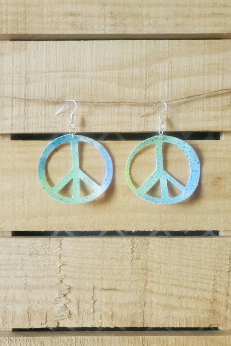 Blue Peace Leather Earrings, Bright Leather Earrings, Rainbow Leather Jewelry, Hippie Earrings, Peace Sign Jewelry, Boho Chic Earrings