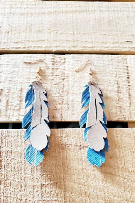Blue Champagne Feathers, Boho Chic Leather Earrings, Southwest Earrings, Rustic Jewelry, Dangle Earrings, Feather Leather Earrings, Dainty