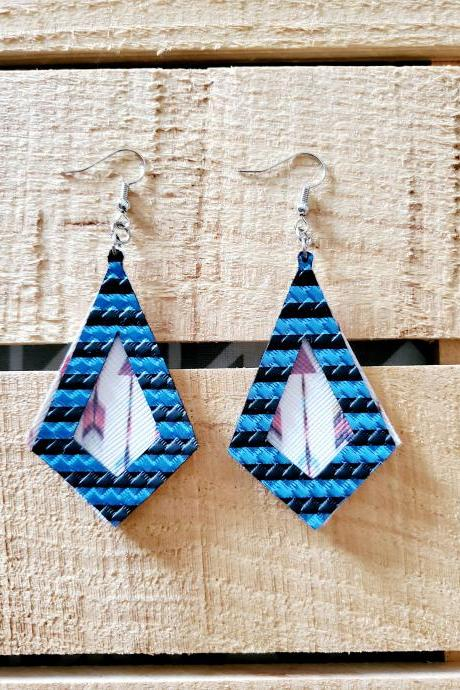 Dark Blue Metallic Diamond Leather Earrings, Boho Arrow Earrings, Double Layer Jewelry, Rustic Leather Earrings, Dangle Leather Earrings