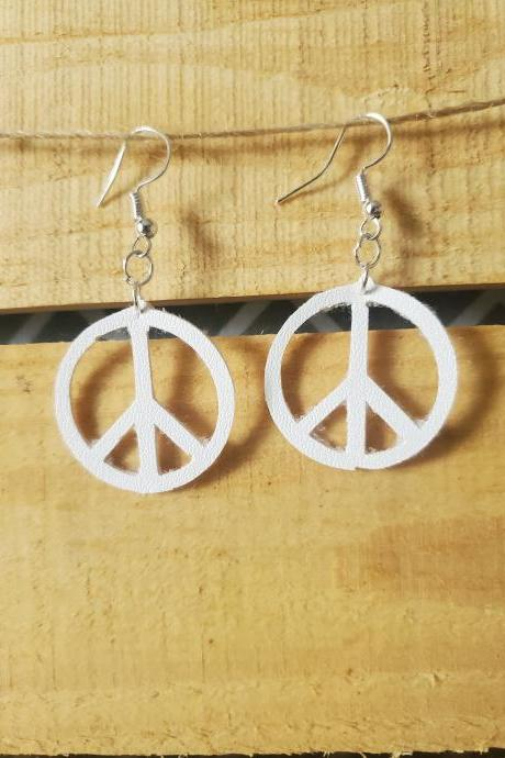 Pure White Peace Sign Earrings, Dainty Earrings, Small Earrings, Circle Earrings, Peace Symbol Hippie Jewelry, Dangle Leather Jewelry