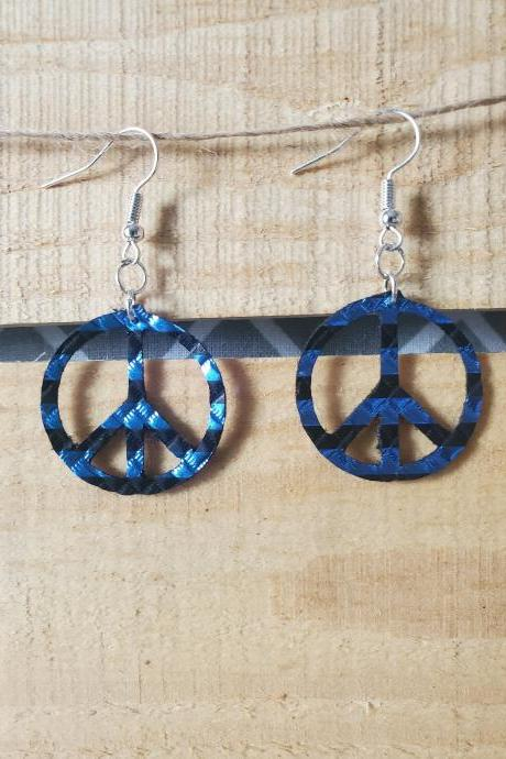Navy Blue Metallic Hippie Earrings, Dainty Circle Leather Earrings, Bright Jewelry, Shiny Earrings, Boho Earrings, Bright Blue Earrings