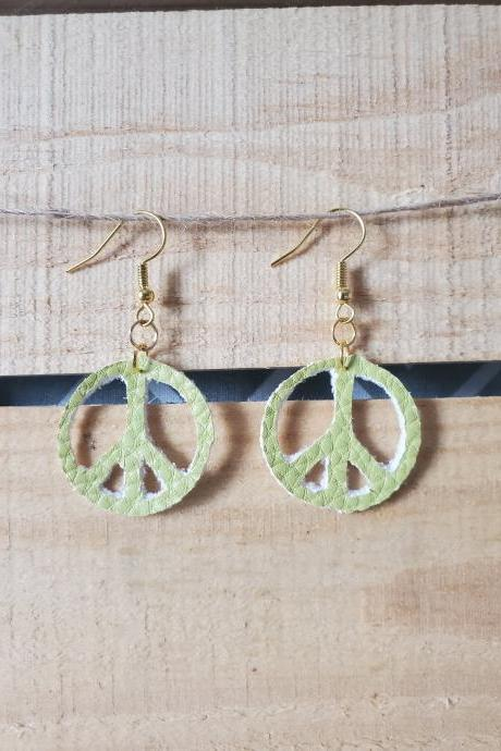 Peace Sign Earrings, Hippie Style Jewelry, Gifts for Her, Leather Dangles, Boho Gifts, Girls Earrings, Dangle Earrings for Girls, Boho Chic