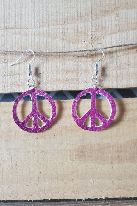 Small Purple Peace Sign Earrings, Leather Dangles, Hippie Jewelry, Shabby Chic Earrings, Peace Symbol Jewelry, Vintage Boho Jewelry, Flowers