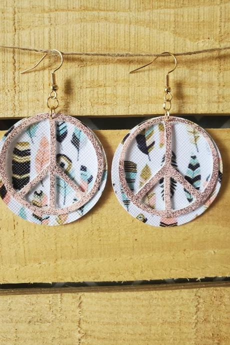Hippie Earrings, Peace Symbol Earrings, Free Spirit Earrings, Rustic Boho Jewelry, Peace Sign Leather Earrings, Boho Dangle Earrings,