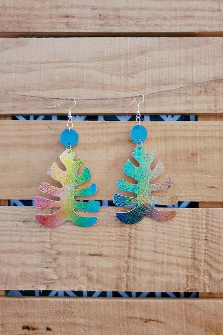 Metallic Rainbow Monstera Leather Earrings, Floral Earrings, Leather Dangle Jewelry, Sparkly Earrings, Cocktail Jewelry, Turquoise Earrings
