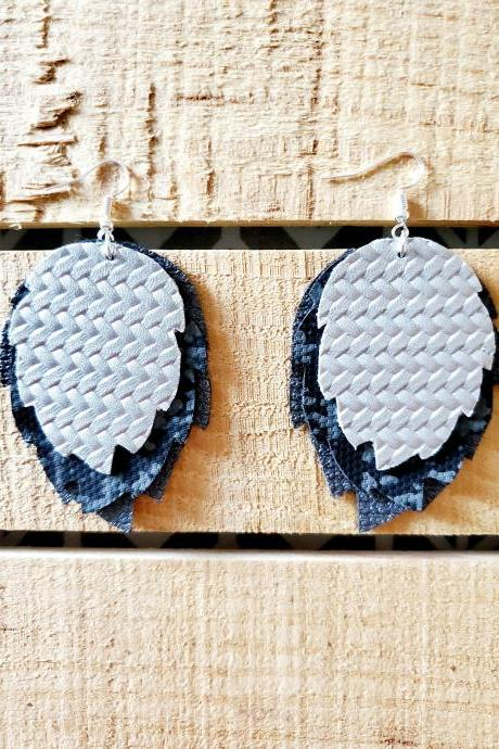 Silver Metallic Leather Layered Earrings, Black and Gray Leather Jewelry, Boho Leather Earrings, Rustic Jewelry, Distressed Leather Jewelry