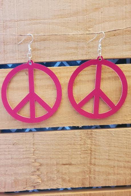Hot Pink Leather Earrings, Hippie Peace Sign Jewelry, Peace Sign Dangle Earrings, Boho Chic Earrings, Summer Earrings, Handcrafted Jewelry