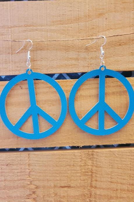 Hippie Peace Symbol Leather Earrings, Turquoise Leather Jewelry, Peace Sign Earrings, Bright Earrings, Peace Sign Jewelry, Turquoise Earring