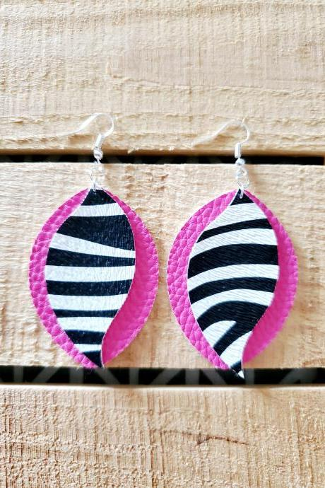 Pink Zebra Print Leather Earrings, Trendy Earrings, Handmade Earrings, Unique Jewelry, Earring Dangles, Statement Earrings, Pink Jewelry