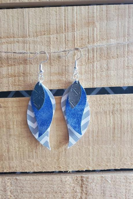 Triple Layered Leather Earrings, Trendy Earrings, Handmade Earrings, Leather Dangles, Unique Earrings, Evening Earrings, Feather Earrings