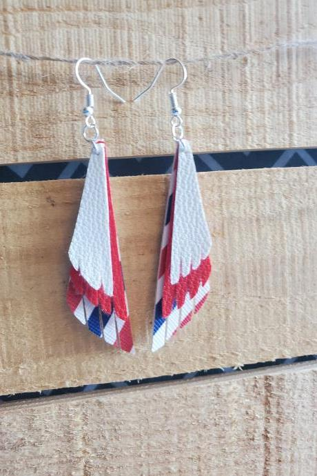 USA Earrings, 4th of July Leather Jewelry, Patriotic Earrings, Triple Layered Earrings, Statement Earrings, July 4th Earring, Red White Blue