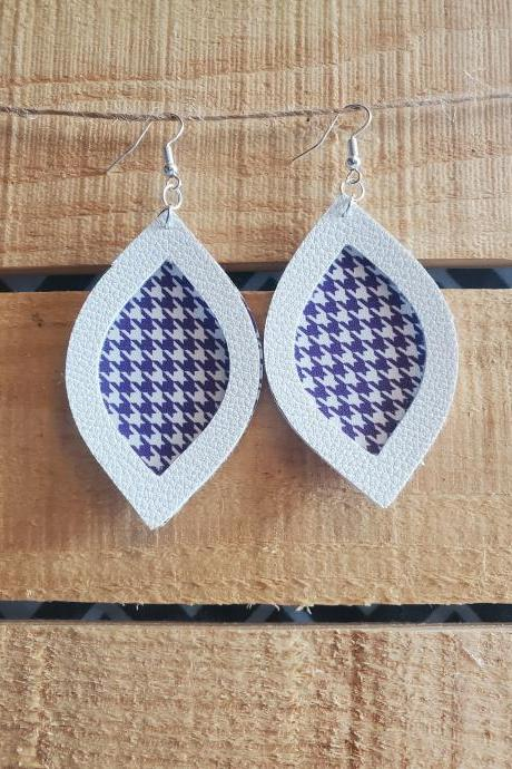 Purple White Houndstooth Leather, Statement Earrings, Leather Dangles, Unique Earrings, Teardrop Earrings, Game Day Earrings, Handmade