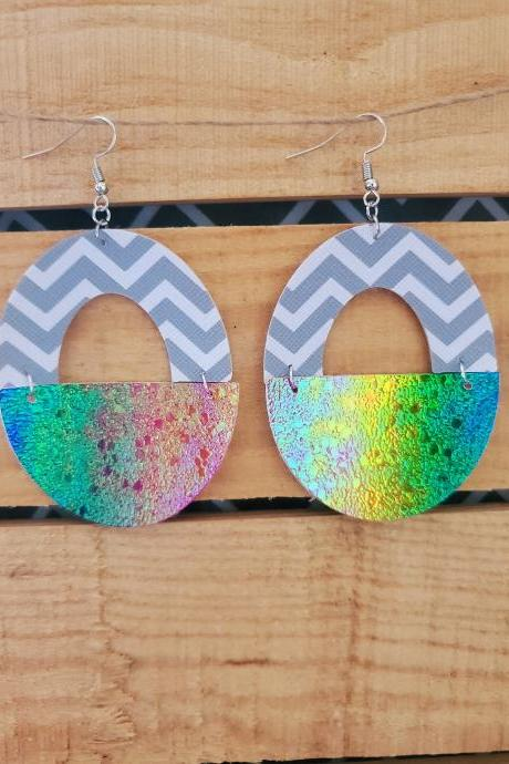 Half Circle Leather Earrings, Geometric Earrings, Chevron Leather Earrings, Layered Jewelry, Half Disc, Semi Circle Jewelry, Watercolor