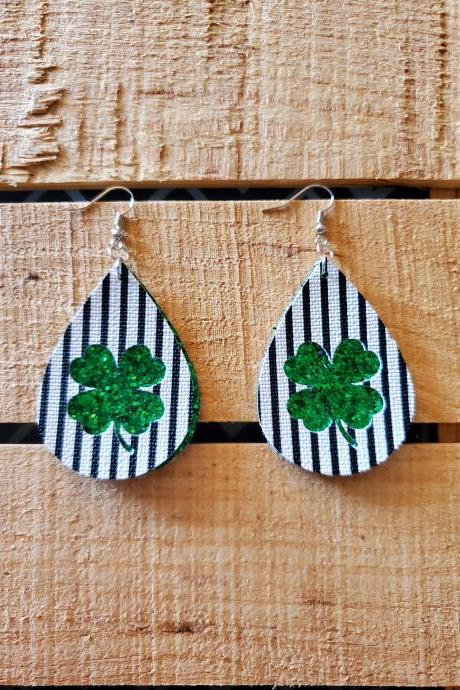 St Patricks Day Leather Earrings, Glitter Earrings, Green Earrings, Black and White Stripe Leather Earrings, Layered Earrings, Womans Gift