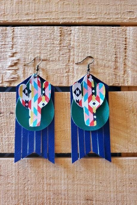 Leather Fringe Earrings, Leather Tassel Earrings, Boho Earrings, Leather Dangles, Aztec Cactus, Glitter Teardrop Jewelry, Layered Earrings