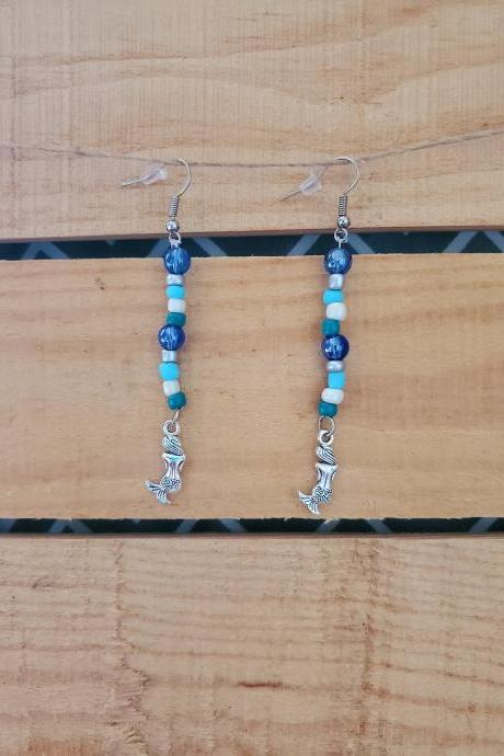 Turquoise Beaded Earrings, Colorful Earrings, Beaded Dangles, Mermaid Jewelry Charm, Beaded Colorful Earrings, Mermaid Charm Earrings, Boho