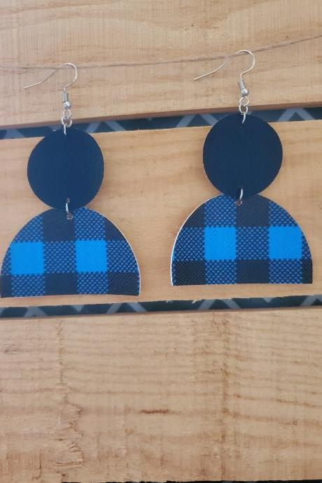 Geometric Dangle Earrings, Split Earrings, Layered Earrings, Half Disc Earrings, Linked Earrings, Buffalo Plaid Jewelry, Blue Black Earrings