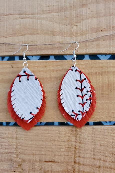 Fringe Earrings, Game Day Earrings, Baseball Leather Earrings, Team Earrings, Baseball Mom Jewelry, Sports Leather Jewelry, Fringe Sports