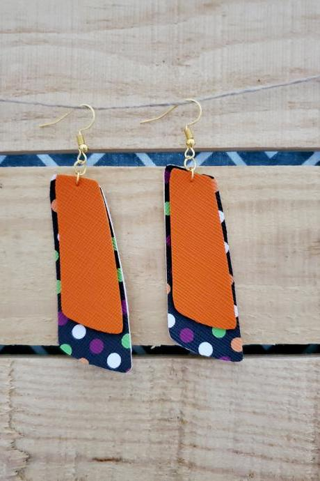 Halloween Earrings, Polka Dot Asymmetric Earrings, Dangle Earrings, Black Orange Jewelry, Statement Jewelry, Minimalist Earrings, Boho Chic
