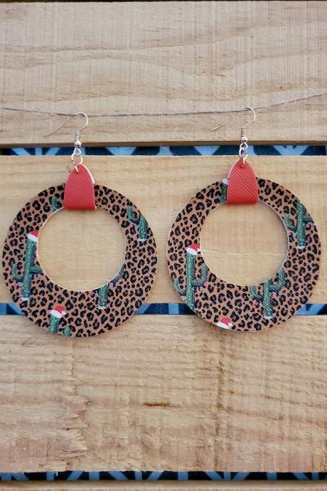 Leopard Christmas Earrings, Southwest Christmas Earrings, Rustic Earrings, Dangle Jewelry, Circle Earrings, Red Jewelry, Metallic Red Boho