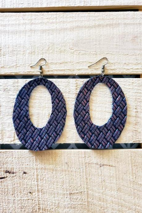 Textured Oval Leather Earrings, Rustic Dangles, Western Style Earrings, Bronze Leather Earrings, Distressed Leather Earrings, Dangle Jewelry