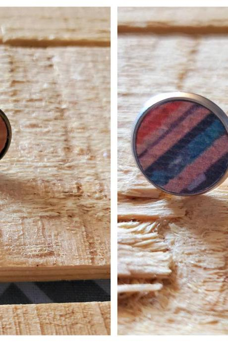 Cork Leather Stud Earrings, Cork Leather Post Earrings, Fall Stud Earrings, Fall Leather Post Earrings, Dainty Earrings, Red Blue Purple