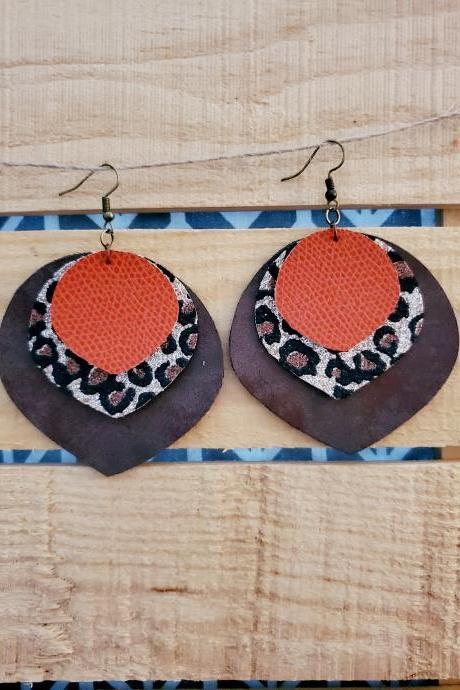 Glitter Earrings, Rustic Leather Jewelry, Fall Earrings, Trendy Earrings, Rustic Leopard Print Jewelry, Animal Print Earrings, Boho Earrings