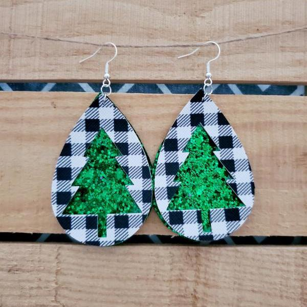 Christmas Leather Earrings, Glitter Earrings, Sparkly Glitter Jewelry, Buffalo Plaid Earrings, Teardrop Dangle Jewelry, Green Earrings