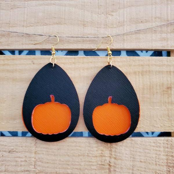 Halloween Leather Earrings, Pumpkin Cutout Earrings, Fall Leather Earrings, Pumpkin Cut outs, Black Orange Earrings, Holiday Leather Earring
