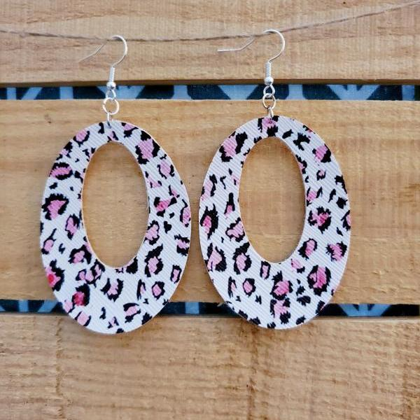 Pink Leopard Print Leather Earrings, Oval Leather Earrings, Leopard Leather Earrings, Statement Earrings, Womans Gift, Lightweight Earrings